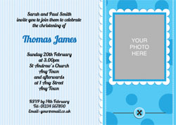 blue buttons christening invitations