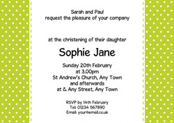 green and white christening invitations