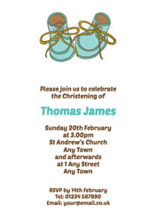 baby shoes christening invitations