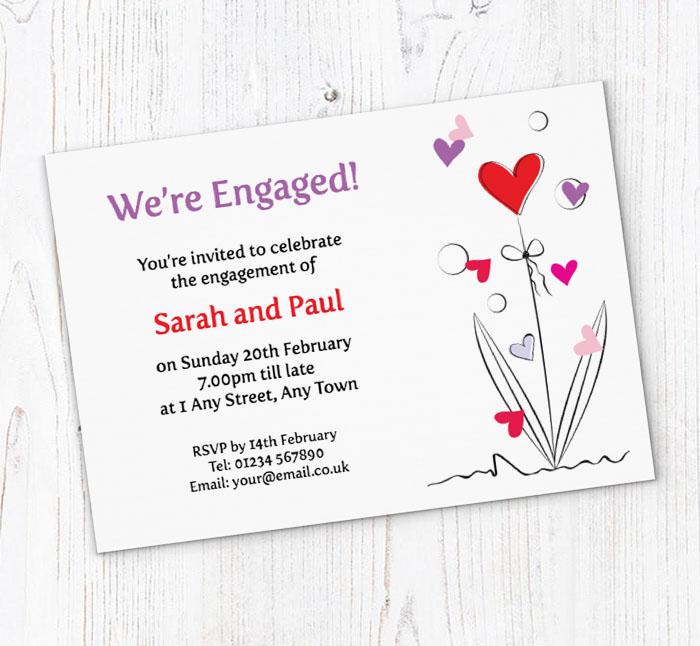 flower heart engagement invitations customise online plus free