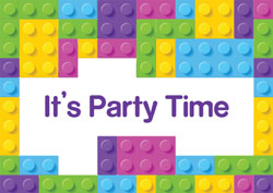 girls lego bricks invitations