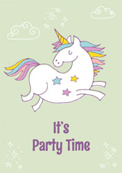 jumping unicorn party invitations