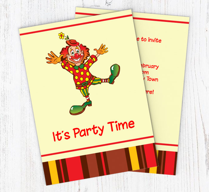 clown party invitations customise online plus free envelopes and