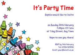 colourful crayons party invitations