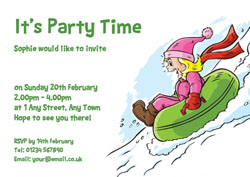 Snow Tubing Party Invitations Customise Online Plus Free Envelopes