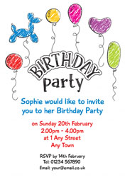 party balloons invitations