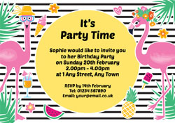 fun flamingos party invitations