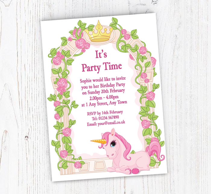 unicorn and roses party invitations customise online plus free