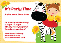 girl and zebra party invitations