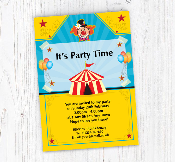 circus and clown party invitations customise online plus free