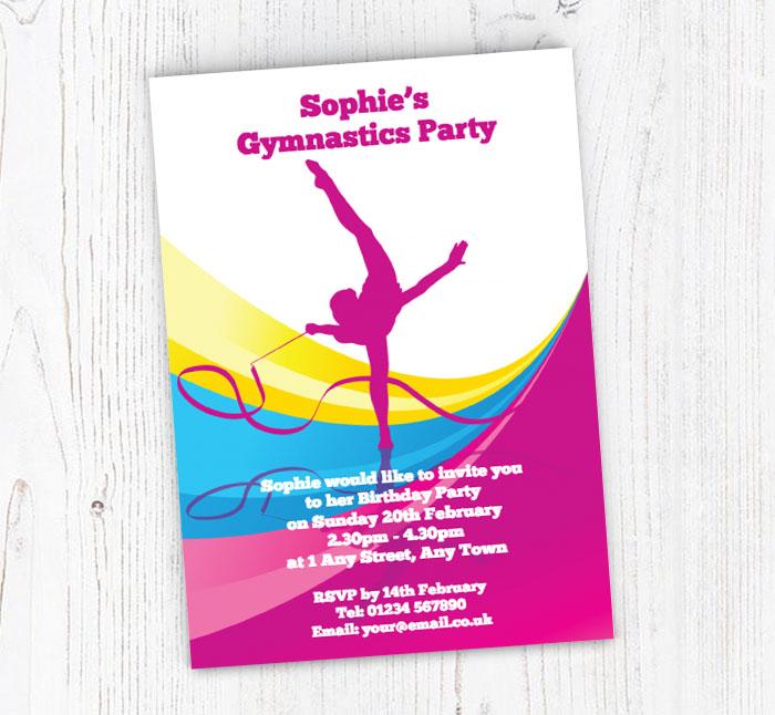 Gymnastics With Ribbon Party Invitations