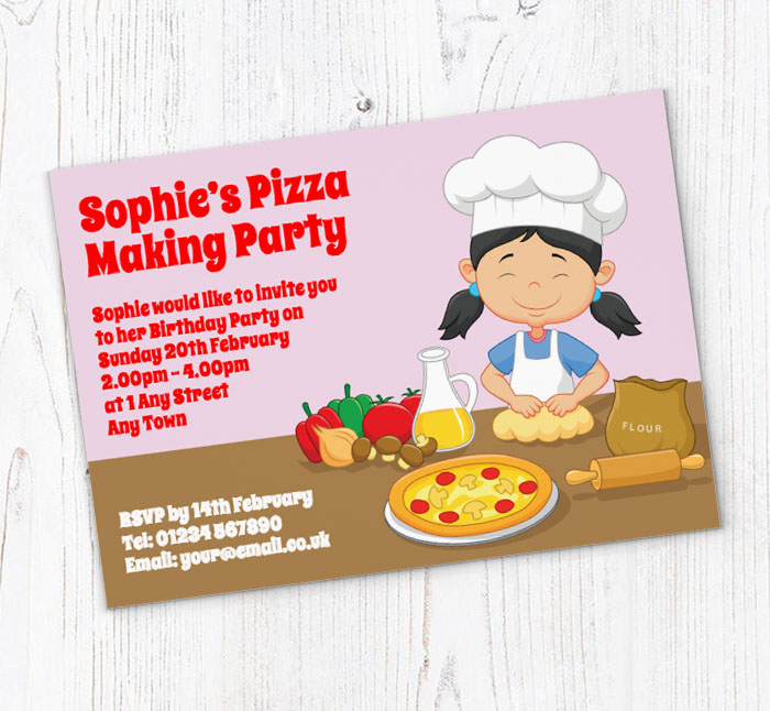 pizza making party invitations customise online plus free