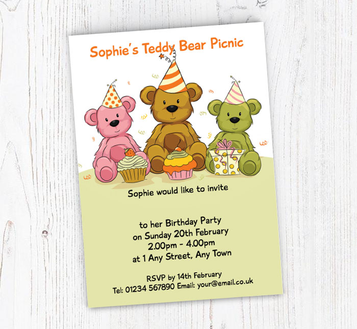 teddy bears picnic party invitations customise online plus free
