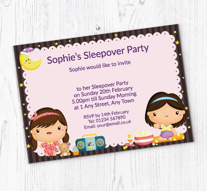 Sleepover Girls Party Invitations Customise Online Plus Free
