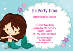 swimming mermaid party invitations