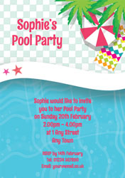 pool and palm tree invitations