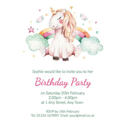 unicorn dreams party invitations