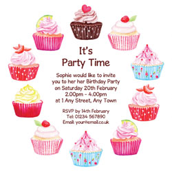 yummy cupcake party invitations