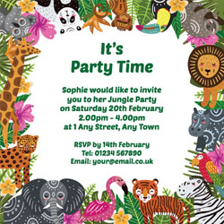 wild animals party invitations