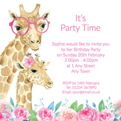 girls giraffe birthday invitations