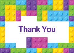 girls lego bricks thank you cards