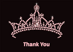 pink tiara thank you cards