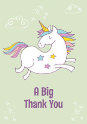 jumping unicorn thank you cards