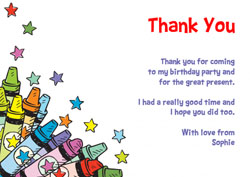 colourful crayons thank you cards