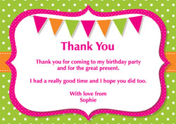 dots and bunting thank you cards
