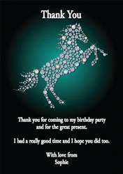 sparkling horse thank you cards