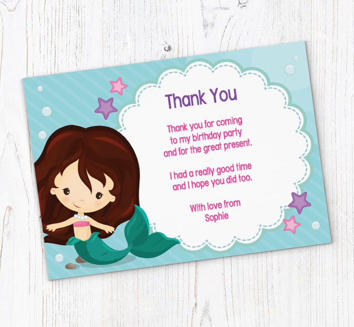 Swimming Mermaid Thank You Cards