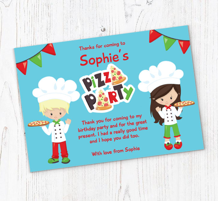 Childrens Pizza Party Thank You Cards
