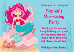 mermaid birthday thank you cards