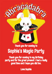 abracadabra party thank you cards