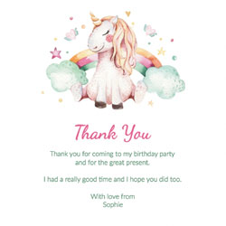 unicorn dreams thank you cards