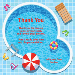 swimming pool thank you cards