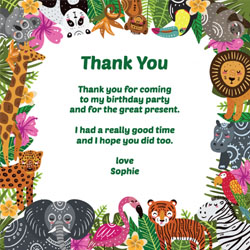 wild animals thank you cards