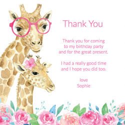 girls giraffe birthday thank you cards