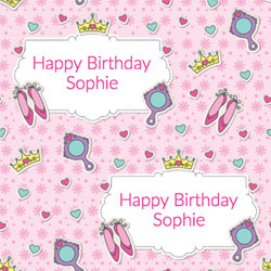 pink princess wrapping paper