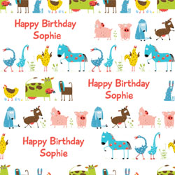 farmyard animal wrapping paper