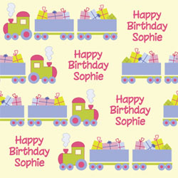 birthday train wrapping paper