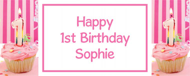 1st birthday pink cupcake party banner