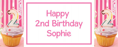 2nd birthday pink cupcake party banner