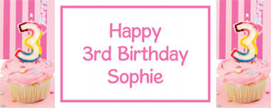 3rd birthday pink cupcake party banner