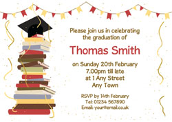 stack of books party invitations