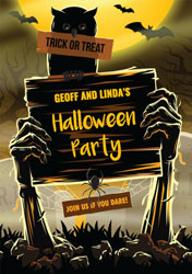 zombie hands party invitations