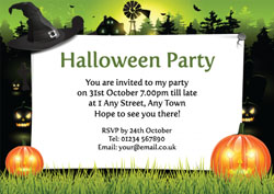 witches hat and pumpkins invitations