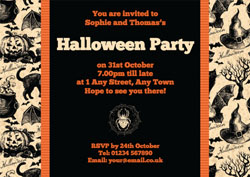 black cats and spiders invitations
