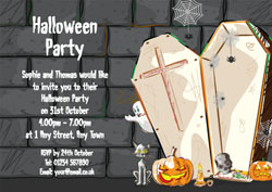 open coffin party invitations