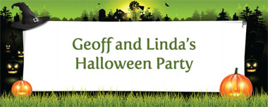 witches hat and pumpkins party banner